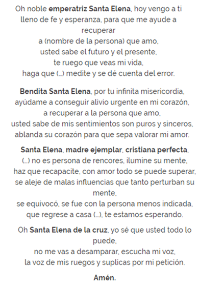 Oración a Santa Elena, esbiblia