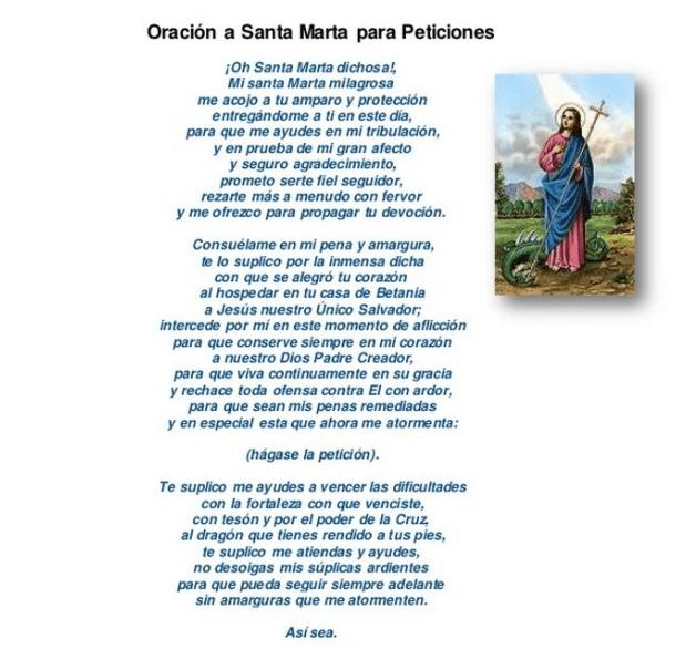 Oración a Santa Marta, esbiblia