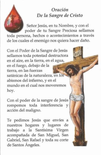 Oración a la Sangre de Cristo, esbiblia