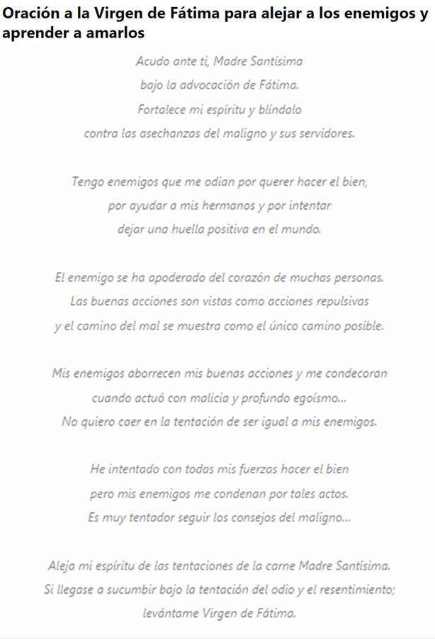 Oración a la Virgen de Fátima, esbiblia