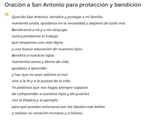 Oración a San Antonio de Padua, esbiblia