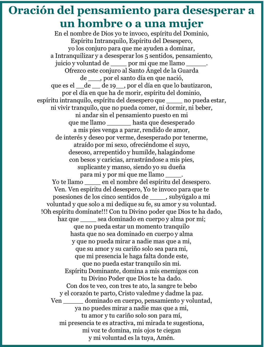 10 oraciones al espíritu del desespero, esbiblia