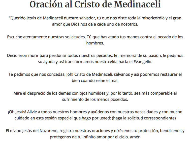 Oración al Cristo de Medinaceli, esbiblia
