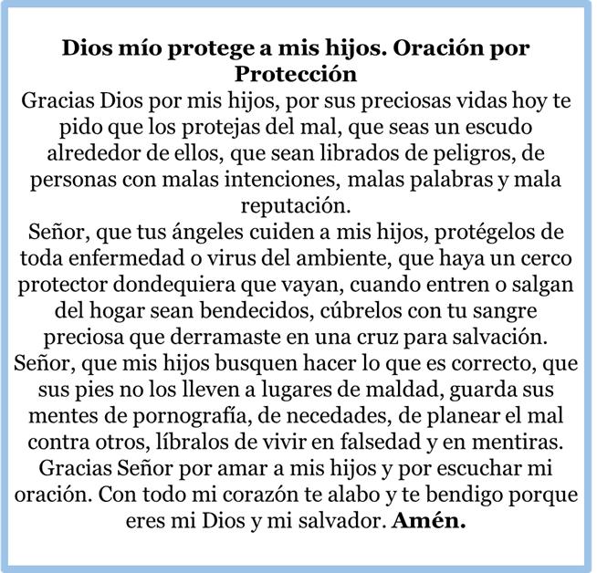 Oración de protección para mis hijos, esbiblia